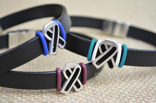 Men S Leather Ribbon Awareness Bracelet Choose Hope