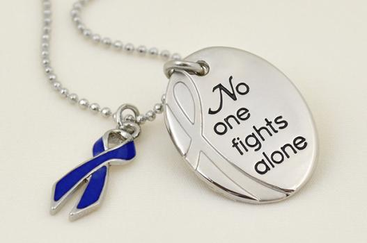 No One Fights Alone Necklace W Ribbon Charm Choose Hope
