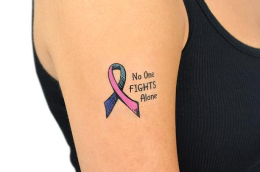 No One Fights Alone Ribbon Temporary Tattoo Choose Hope