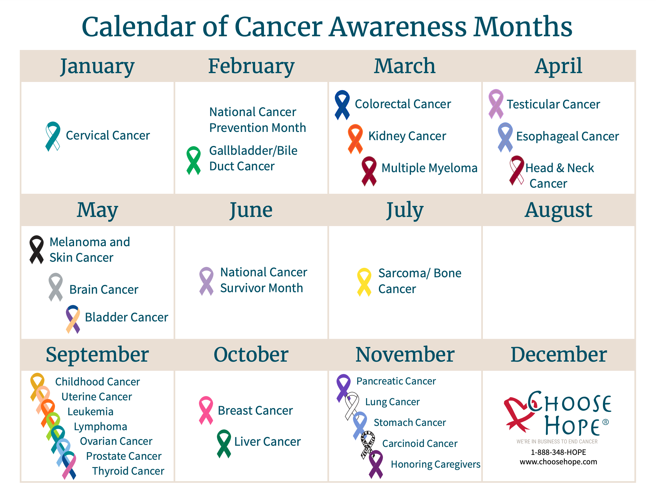Cancer Awareness Months Calendar And Ribbon Colors Choose Hope
